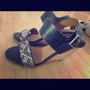 Black leather strappy wedges